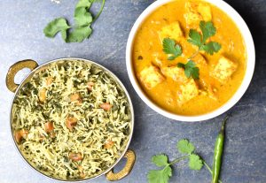 Spinach-rice-paneer-makhani, garam masala kitchen
