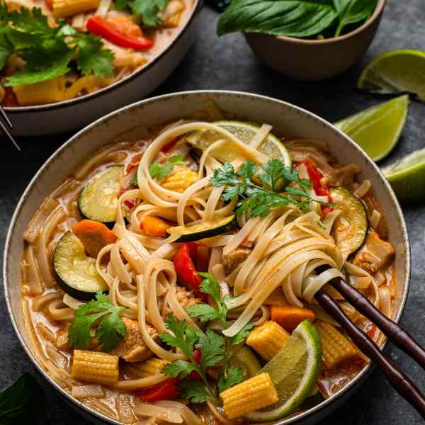 Close up of thai red curry soup in Instant pot
