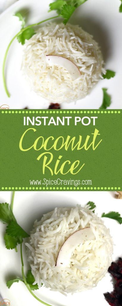 Instant Pot Coconut Rice, Coconut rice is a simple and flavorful vegan and gluten-free side that compliments many asian entrées. I cook the rice in unsweetened coconut milk. To makeInstant Pot Coconut Rice, I add all the ingredients to the pot and pressure cook for 6 minutes at high pressure. #food #foodie #foodblogger #delicious #recipe #instantpot #recipes #easyrecipe #cuisine #30minutemeal #instagood #foodphotography #tasty