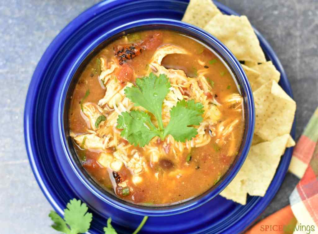 Instant pot chicken tortilla soup with melted cheese