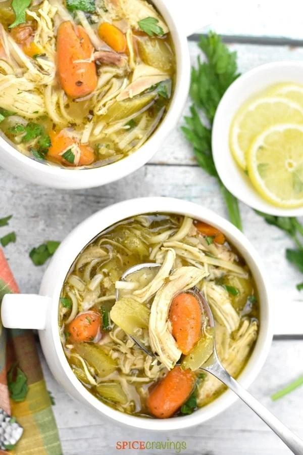 Top shot of Chicken Noodle Soup