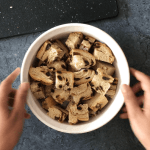 Chopped bread in a bowl for making Cinnamon Raison French Toast Casserole