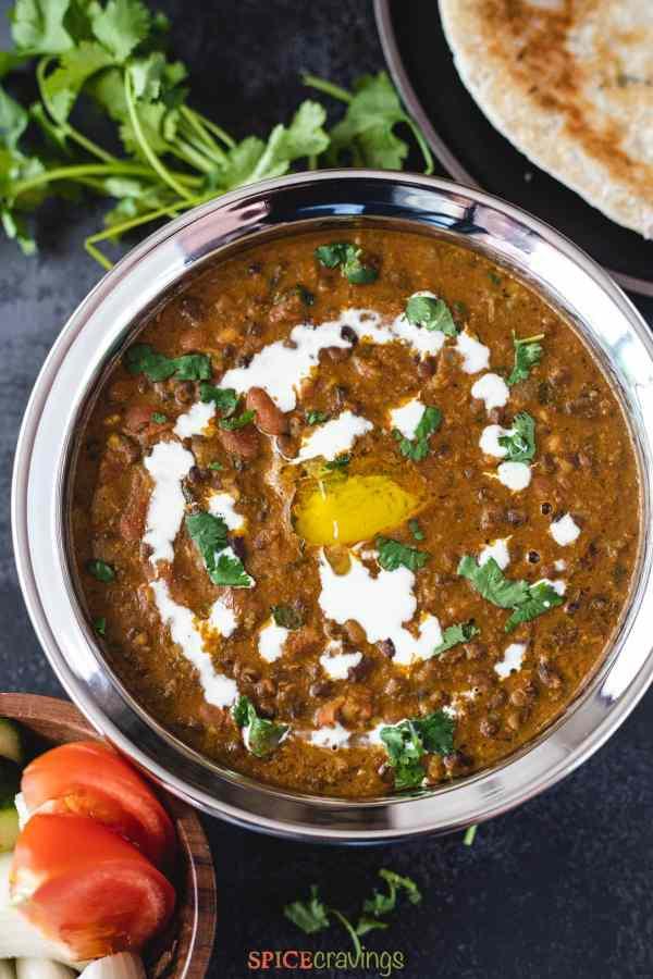 Easy Dal Makhani served in a black bowl