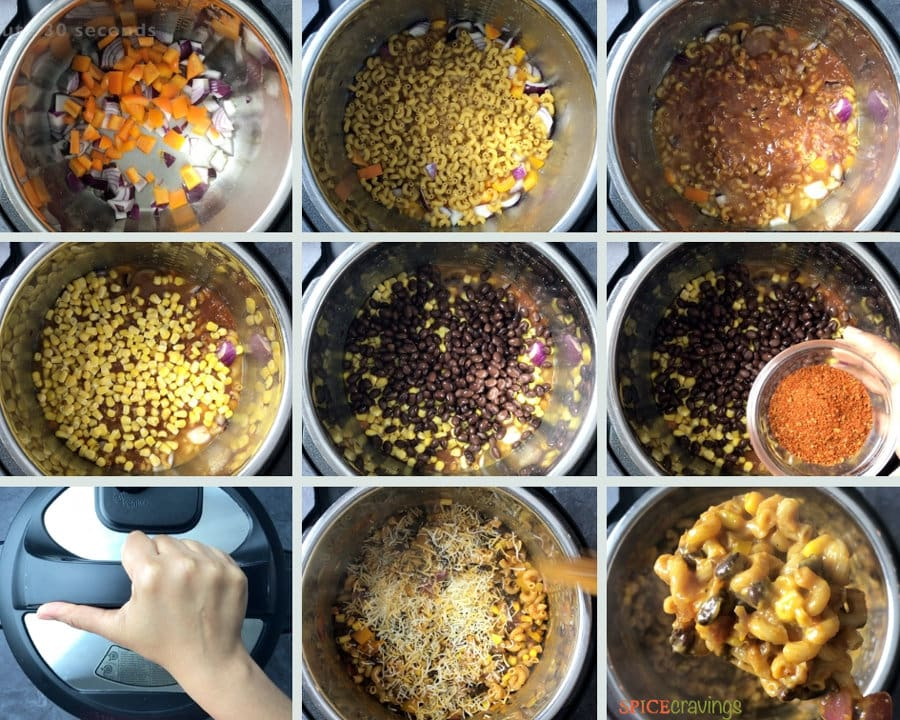 Step by Step instructions on how to make Vegetarian Taco Pasta in an Instant Pot