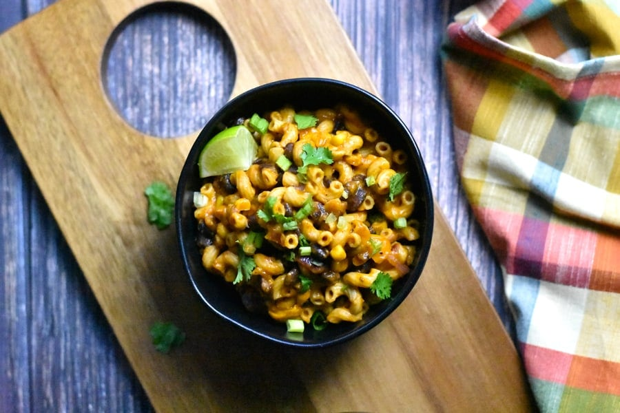 Vegetarian taco pasta served in a bowl