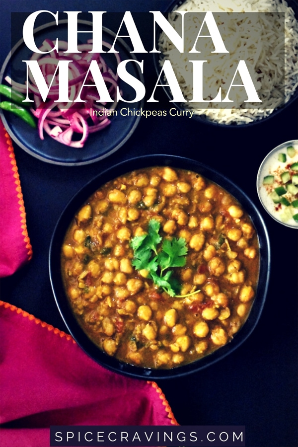 Chana Masala Curry made in Instant Pot, served with rice