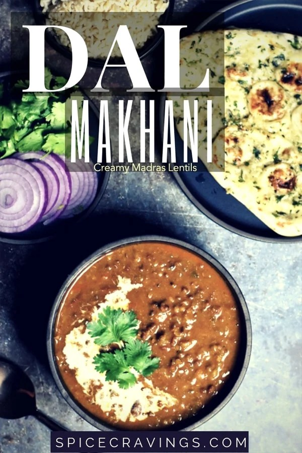 Creamy Madras lentils curry, dal makhani served with garlic naan