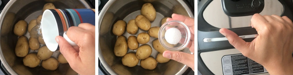 A step by step process showing how to make Garlic Parmesan Roasted Potatoes
