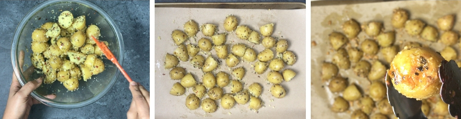 Showing how to roast the perfect garlic parmesan roasted potatoes