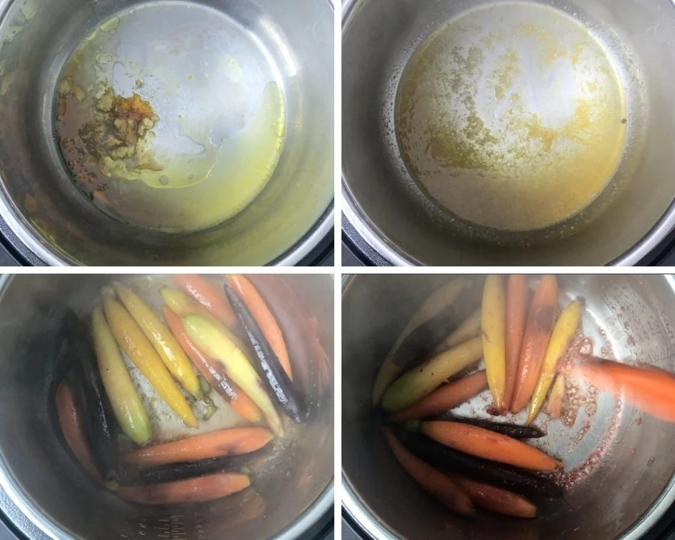 Step by Step instructions on how to glaze carrots in Instant Pot