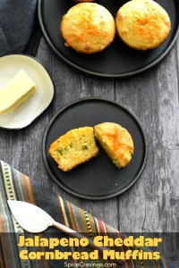 Cornbread Recipe with pickled jalapenos and cheedar cheese, baked into muffins, served on a black plate