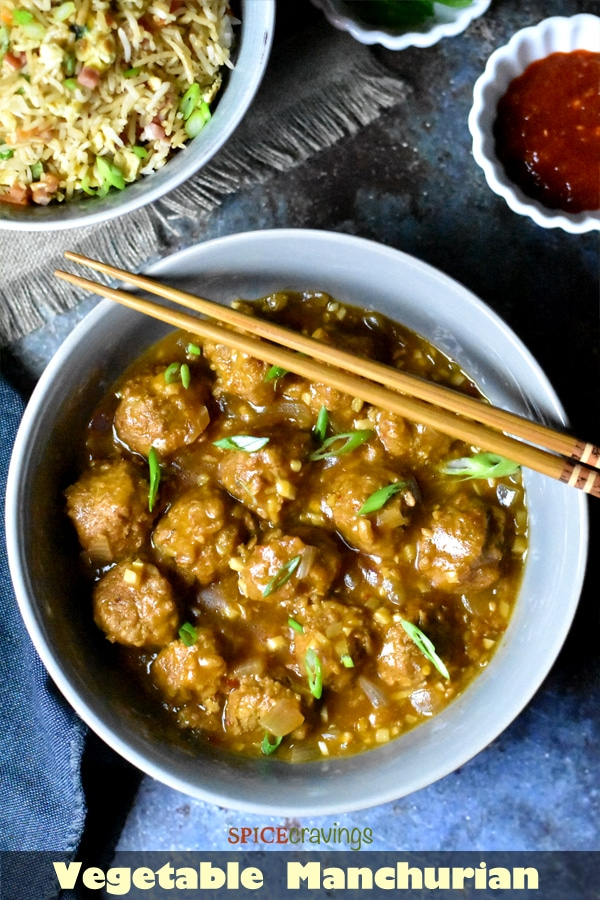 Vegetaable Manchurian made with frozen soy meatballs in Instant Pot