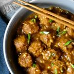 Vegetable Manchurian made in 30 minutes, served in a bowl with chopsticks
