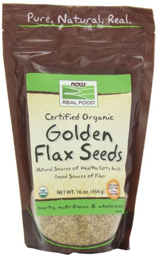 Now Foods Certified Organic Golden Flax Seeds, 16 ozs Bag,  (Pack of 2)