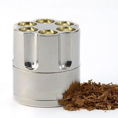 Easy Grind Handy Revolver Bullet Cylinder Design Metal Spice Herb Mini Grinder Pollen