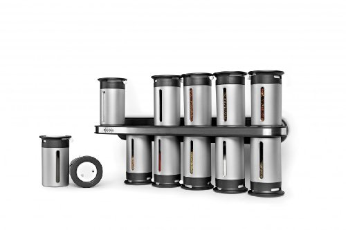 Zevro MSR1400 Zero Gravity Magnetic Spice Rack with 12 Canisters