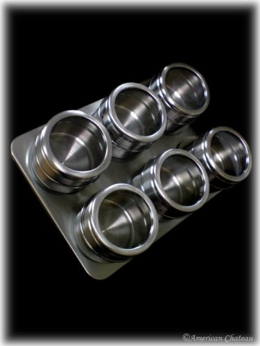 Stainless Steel Spice Rack with 6 Magnetic Jars