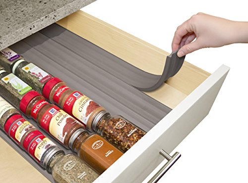 YouCopia SpiceLiner In Drawer Spice Organizer 6-Pack (24 Bottles) Warm Gray