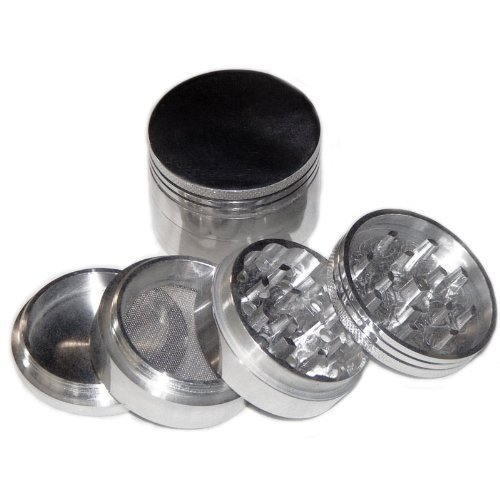 2 X Generic Silver Four Piece NEW Style 2 1/4″ Herb, Spice or Tobacco Pollen Grinder (As Shown)