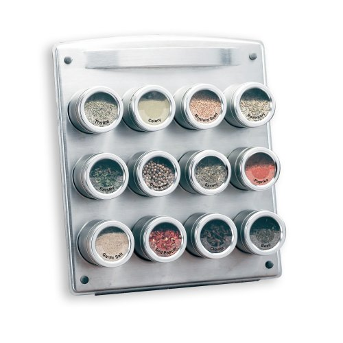 Kamenstein Magnetic Spice Rack with Free Spice Refills for 5 Years, 12-Tin Square (31112)
