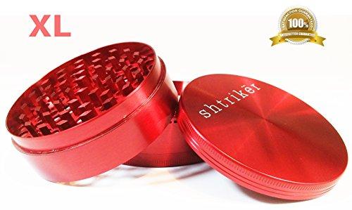Shtriker® Grinder Extra Large 3.0 Inch 4 Piece. Tobacco Grinder / Spice Grinder / Herb Grinder / Weed Grinder (Red)