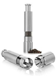 Tmvel Salt and Pepper Stainless Steel Mill Grinder Set Sleek Design Set of 2.