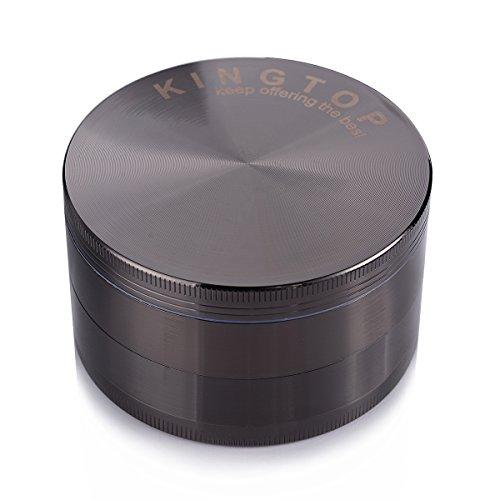 Herb Grinder Kingtop No.1 Largest 3.0 Inch 4 Piece 75mm Zinc Alloy Tobacco Spice Weed Grinder Grey