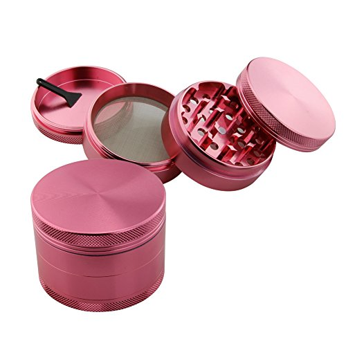 DCOU Tobacco Spice Herb Pollen Plant Weed Grinder 4 Piece Aluminum 55 mm Diameter (2.2″) (Pink)