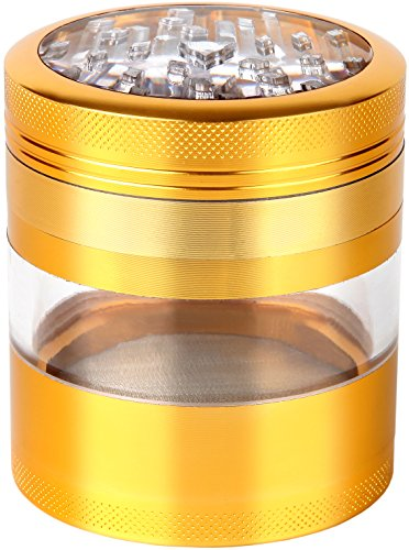 Large Spice & Herb Grinder with Pollen Catcher Premium 4 Piece Aerospace Grade Aluminum by Zip Grinders. 2.5 X 3.25 Inches (Gold)