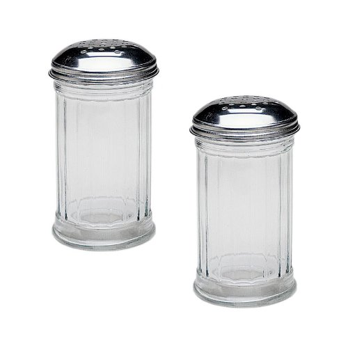 SET OF 2 – 12 Oz. (Ounce) Multi-Purpose Spice Seasoning Grated Cheese Shaker Retro Dispenser, Glass Jar, Perforated Stainless Steel Lid