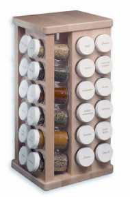 J.K. Adams 8-Inch-by-16-Inch Sugar Maple Wood Spice Jar Carousel, 48 Glass Jars Included