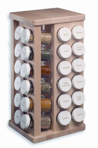 J.K. Adams 8-Inch-by-16-Inch Sugar Maple Wood Spice Jar Carousel, 48 Glass Jars Included