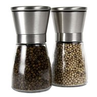 Stainless Steel Salt and Pepper Grinder Set /Brushed Stainless Steel Pepper Mill and Salt Mill, Glass Body, Adjustable Ceramic Rotor