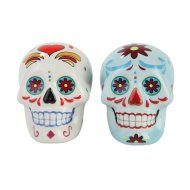 1 X Day of Dead Sugar White & Blue Skulls Salt & Pepper Shakers Set- Skulls Collection