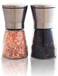 Moments Kitchenware – Stainless Steel Salt and Pepper Grinder Mill Set – Glass Body | Adjustable Ceramic Rotor | Ideal Salt Mill for Pink Himalayan Salt and Peppercorn | Best Kitchen Tool