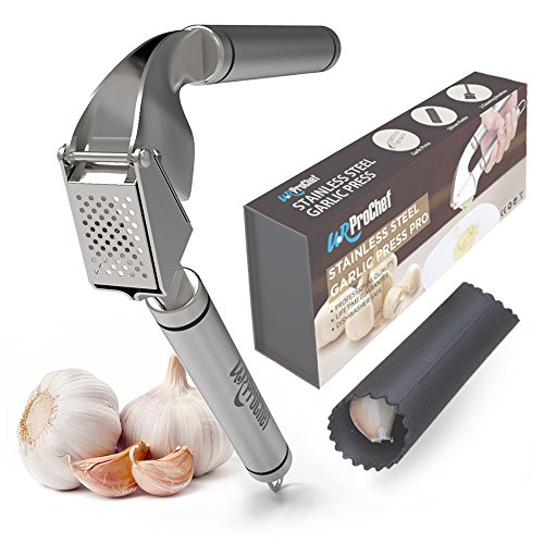 U.RProchef Stainless Steel Garlic Press – Set of Heavy Duty Crusher and Silicon Roller for Peeling Clove Skin. Free Cleaning Brushes