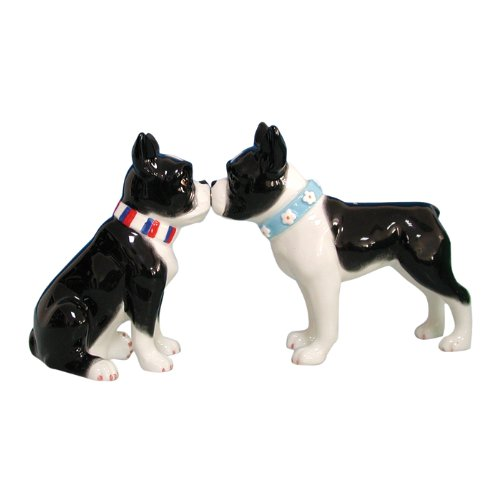 Kissing Boston Terrier Salt and Pepper Shaker