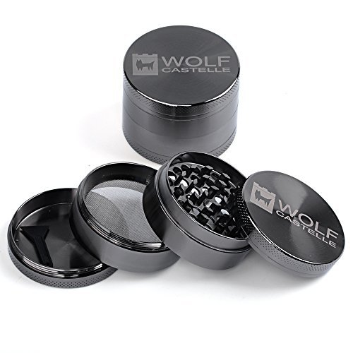 """4-Piece Zinc Alloy 2"""" Tobacco Herb Grinder -54 Razor Sharp Teeth Guarantee A Smooth, Easy Grind Every Time – Durable, Long-Lasting and Backed By A LIFETIME Guarantee!"""