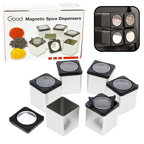 Shake or Pour Containers Attach to Most Refrigerator Doors Magnetic Spice Tins Set of 3 Dispensers
