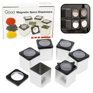 Magnetic Spice Jars – Tins Attach to Most Refrigerator Doors – Shake or Pour Containers – (Set of 6 Dispensers)