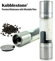 Salt and Pepper Grinder Set 2 in 1 – Salt Pepper Mill Set with Adjustable Ceramic Grinding Mechanism – High Quality Stainless Steel By Kobblestone