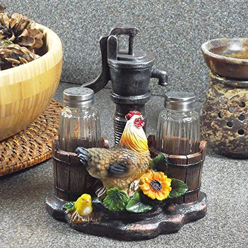 1 X Farm Chicken and Old Fashioned Water Pump Glass Salt and Pepper Shaker Set with Holder Figurine in Country Kitchen Rooster Decor, Sculptures and Statues and Rustic Gifts for Farmers