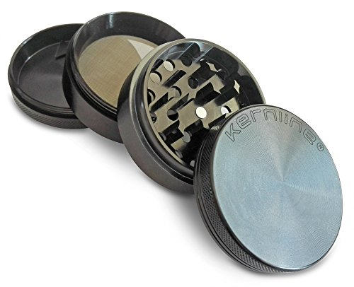 "Kernline Weed Grinder – Metal Weed Spice Tobacco Herb Grinder – High Quality Premium Grade Aluminium – 2.5"" Diameter 4 Piece with Pollen Catcher and Scrapper(2.5 Inches, Black)"