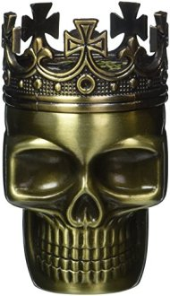 1 X Fab Detailed Crowned King Skeleton Skull Design Novelty Metal Spice Grinder Pollen Screen