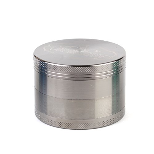 CEREMONY HERB GRINDER: High Quality Premium Craftsmanship! Large Silver 2.5″ 4 Part Zinc Alloy Herb, Spice, Tobacco, and Pollen Grinder; Anodized (Scratch and Smudge Resistant); Includes Pollen Collector and Carry Bag. (Black Chrome)