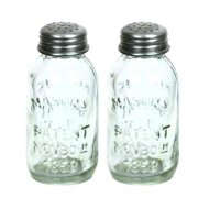Set of 2 Glass Mason Jar Salt and Pepper Shakers
