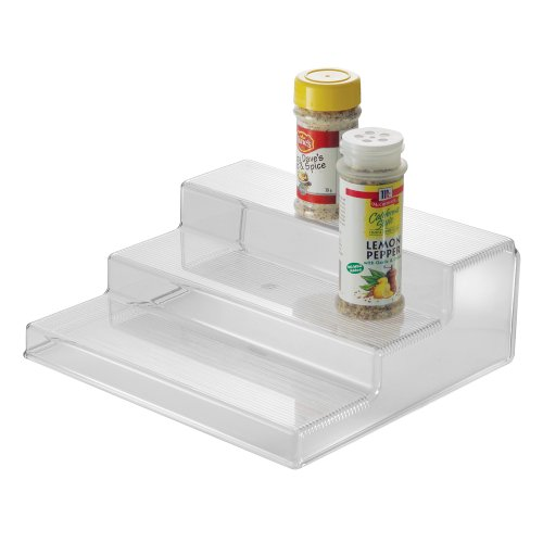 InterDesign Linus Spice Rack, Organizer for Kitchen Pantry, Cabinet, Countertops – 3-Tier, Clear