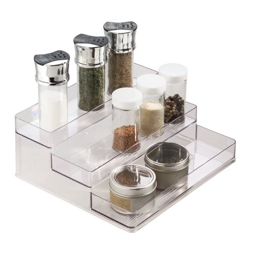 InterDesign Linus Spice Rack, Organizer for Kitchen Pantry, Cabinet, Countertops – Large, 3-Tier, Clear