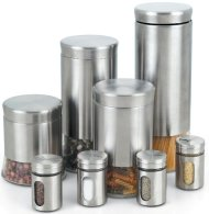 Cook N Home Stainless Steel Canister and Spice Jar Set, 8-Piece