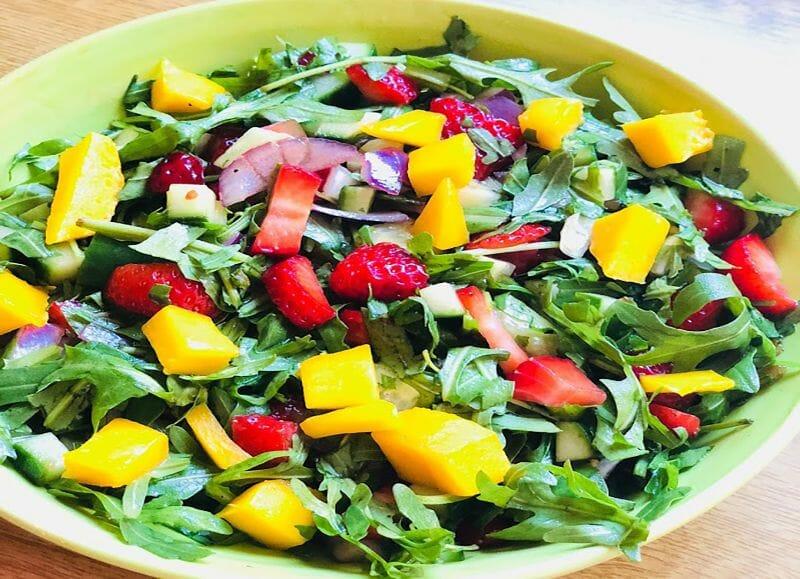 Summer salad recipe with spicy mango dressing